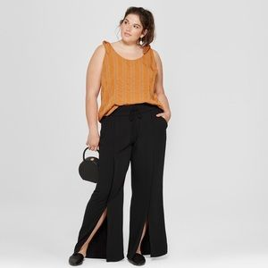 A New Day Black Drawstring Front Slit Wide Pant